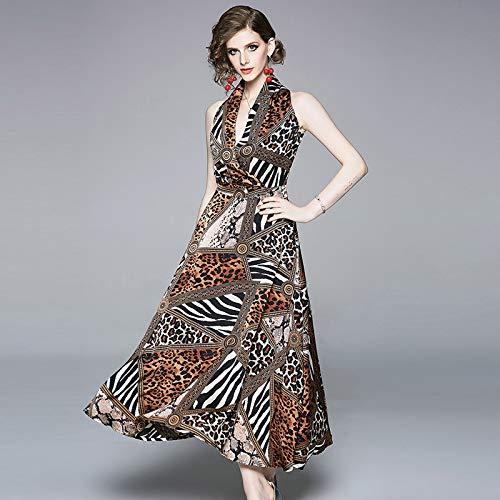 QUNLIANYI Abendkleid Abiballkleid Sexy Neckholder Party Kleid Retro Leopard Print Vintage Maxi Kleid...