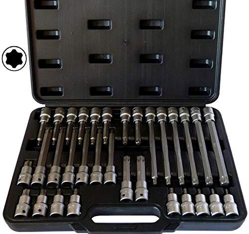 SYTO24, 32tlg. Innen-Torx (+15% Härtegrad, da S2-Stahl) Steckschlüssel-Satz, T20-T70 Bit-Einsatz Nuss-Werkzeug