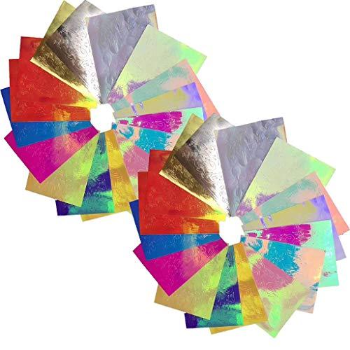 Outils de Maquillage Des Ongles,32Pcs Nail Art Stickers Autocollants Flammes Ruban AdhéSif DéCoration Diy(32PCS Nail Art Stickers Flame Reflections Tape Adhesive Foils DIY Decoration)