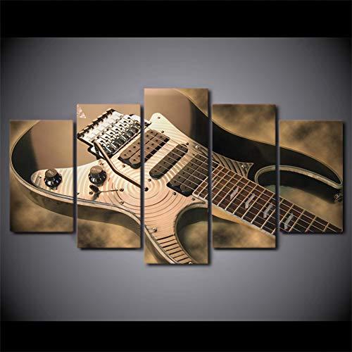 HSDVJZC canvas schilderij 150 × 80 cm modern 5-delig bedrukt canvas schilderij elektrische gitaar muziekinstrument wooncultuur afdrukken poster wandkunst