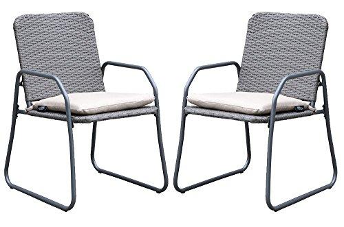 Westfield extérieur Barite Twin Effet rotin Chaise de Jardin Ensemble de Cadres léger mais Robuste, en Charge jusqu'à 120 kg, Comprend Amovible Coussins L Anthracite/Beige