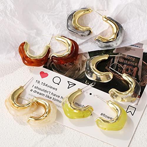 French Retro Irregular Acrylic Metal Earrings C Shaped Earrings for Women Girls