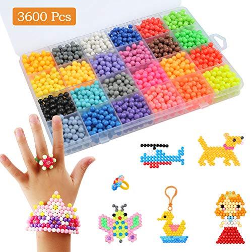 FOCCTS 3600 Stück DIY Kinder Perlen 30 Farben Wasser Klebrige Bastelperlen Refill Art Craft Lernspielzeug Figurenset Bastelset für Kinder