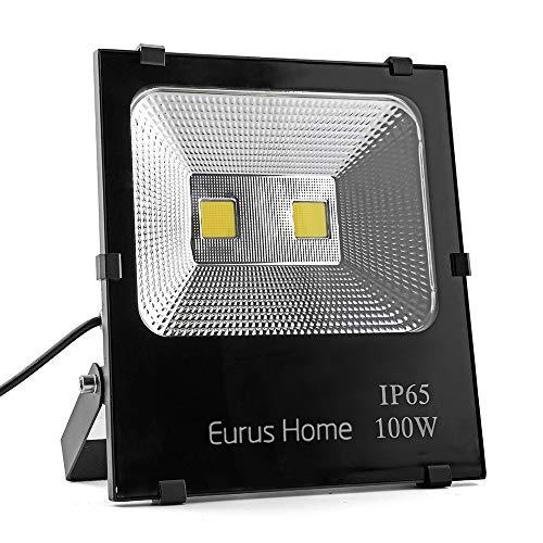 100W led Flood Light Outdoor Indoor Work Light with Plug,1000W Halogen Bulb Equivalent, IP66 Waterproof,6000K White Light, Outdoor Led Lighting