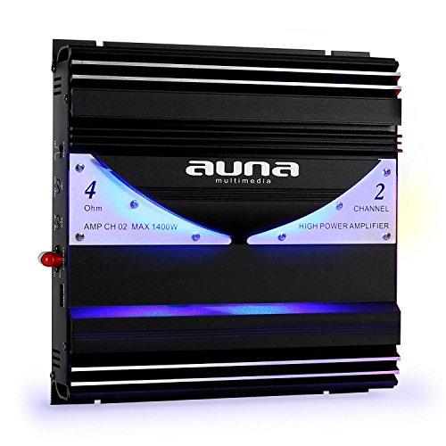 auna AMP-CH02 Car HiFi Verstärker 2-Kanal Auto-Endstufe Car Amplifier (1400 Watt max, Hoch- / Niedrigpegel-Eingänge, regelbarer Tiefpass-Filter, 2/1-Kanal-Betrieb) schwarz-Silber