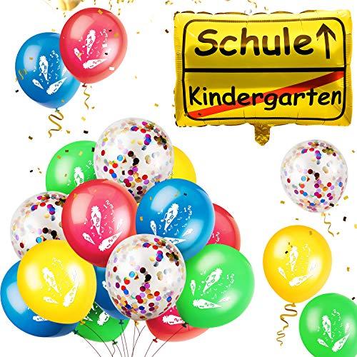 iZoeL Schulanfang Deko Folienballon + 20 Luftballon Dekoration zur Einschulung Schuleinführung Schulstart für Junge Mädchen unterstürtzt Helium Luft