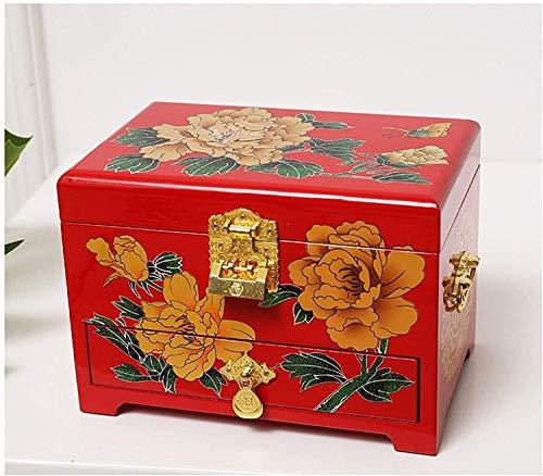 JISHIYU - Q Joyero antiguo joyero de madera oriental con espejo de laca roja pintado a mano regalo para familiares y amigos (color: A)