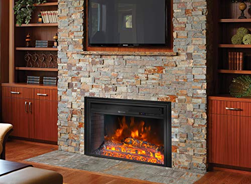 """Barton 26"""" Electric Fireplace Insert 3D Flame Stove Adjustable Flame Timer Heater Firebox Logs with Remote Control, Black"""