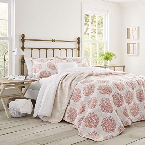 Laura Ashley | Coral Coast Collection | Steppdecken-Set, ultraweich, für alle Jahreszeiten, wendbar, stilvolle Decke mit entsprechenden Kissenbezügen, King-Size-Bett