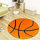ETbotu antideslizante bola patrón redondo forma alfombra para computadora silla cojín oficina estera baloncesto naranja 60cm