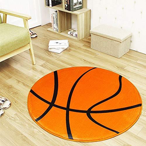 Rutschfester Teppich mit Ballmuster, runde Form, für Computerstuhl, Büromatte, orangefarbener Basketball, ca. 80 cm im Durchmesser.