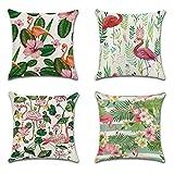 JOTOM Funda de Almohada para Cojín de Lino y Poliéster para Sofa,Cama,Silla Decorativo 45 x 45 cm,Juego de 4 (Flamenco y Flores Tropicales)