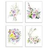 Floral Watercolor Pastel Flower Art Prints — Set of Four 8x10 Photos of Roses, Peonies, Lilacs, Dahlias, Cherry Blossoms and Delphiniums