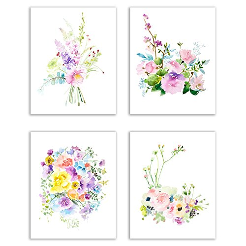 Floral Watercolor Pastel Flower Art Prints — Set of Four 8x10 Photos of Roses, Peonies, Lilacs, Dahlias, Cherry Blossoms and Delphiniums
