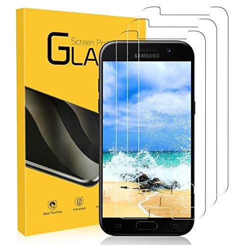 Zozgetu Protector Pantalla para Samsung Galaxy A5 2017,Cristal Templado para Samsung Galaxy A5 2017,3 Piezas,Toque 3D,HD,Dureza 9H,Anti-Arañazos,Sin Burbujas Vidrio Templado película Protectora