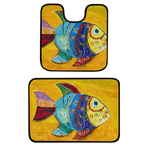 Set di 2 tappeti da bagno – colorati pesci antiscivolo tappetini da bagno lavabili per vasca da bagno, doccia e bagno