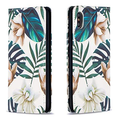 Miagon Coque Portefeuille pour iPhone XS Max,Étui à Rabat en Cuir Fine Folios Bourse Case Protection Housse Clapet avec Carte Fentes,Feuille Fleur
