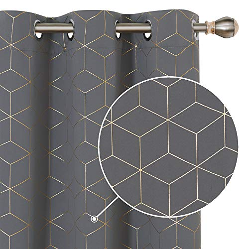 Deconovo Blackout Curtains Gold Diamond Foil Print Room Darkening Thermal Insulated Sun Blocking Grommet Curtain Panels for Living Room Light Grey 42W x 84L Inch 2 Panels Set