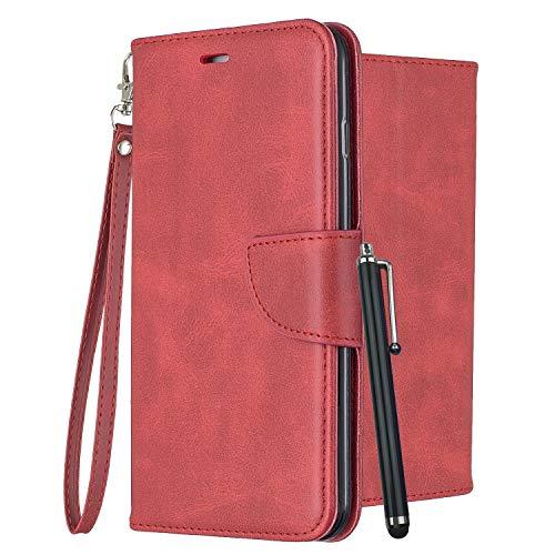 Laybomo Leder Hülle für LG G6 H870 LS993 Tasche Retro-Stil Leder Schuzhülle mit Kreditkartenhalter & Weiches TPU Silikon Klappe Schale Stehen Brieftasche Handyhülle LG G6+ H870K, Rot