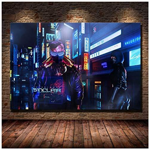 Yxjj1 Carteles e impresiones artísticos de pared de la ciudad de Steam del futuro, pinturas en lienzo modernas para la decoración de la sala de estar-20x30 en sin marco