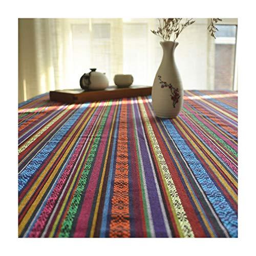 Style Table Cloth - Art en lin de coton, style ethnique, style thaï du sud-est asiatique, couvre-table de thé anti-chaud, cuisine, salle à manger, nappe décorative (taille : 140 * 200cm)