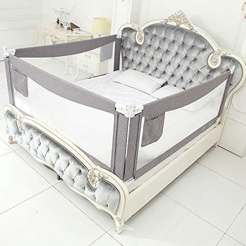 LINGKY Barandilla para Cama De Bebé, Barrera De Cama De Seguridad De Malla Transpirable, Protección De Diseño De Elevación Vertical, para Bebés Y Niños Pequeños (Gris 1,120x70cm)