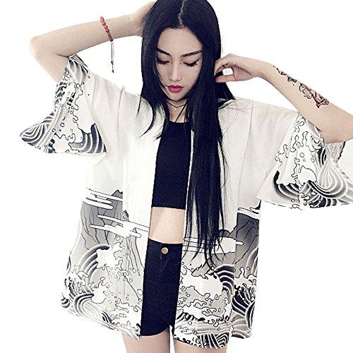 ZooBoo Women Japanese Kimono Cardiga Harajuku Bathrobe Cardigan Sunscreen Clothes Pajamas Knitting Coat - White/Black (White)