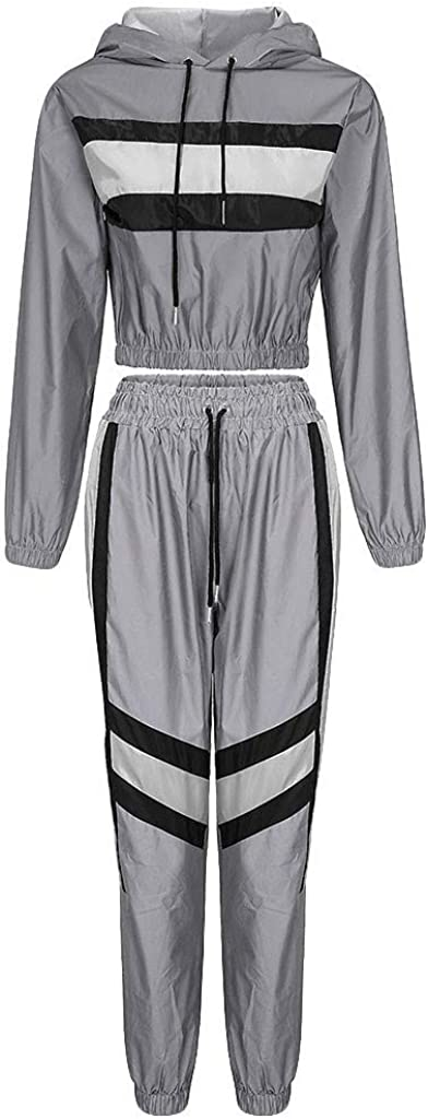 Women Casual Reflective Splicing Set Long Sleeve Crop Tops + Pants Suit