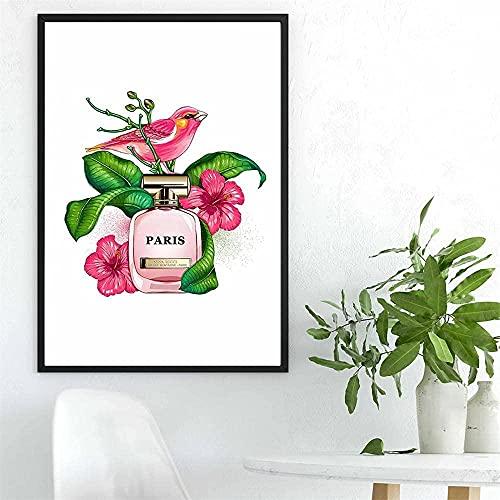 Arte de pared lienzo Perfume flor pájaro flor pintura cartel nórdico e impresiones imágenes de acuarela para decoración de sala de estar 40x60cm sin marco