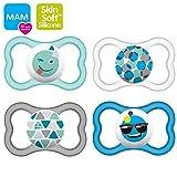 MAM Air 16+'Skin Soft' Ciuccio in silicone Soft Colours Uni-Mix, 4 pezzi