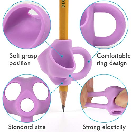 Firesara Pencil Grips, Original Breakthrough Assorted Writing Aid Grip Trainer Posture Correction Finger Grip for Kids Preschoolers Children Adults Special Needs for Lefties or Righties(4PCS)