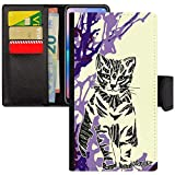 utaupia Coque Apple iPhone 6 6S Plus Portefeuille Porte Cartes Chat Peinture Chaton Art Minou Fantaisie Violet Tribal Arbre Made in France