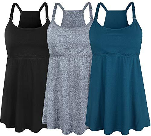 SUIEK Women's Nursing Tanks Maternity Tops Racerback Breastfeeding Cami Bra Shirt (X-Large, Black + Atrovirens + Dark Grey (Fourth Style))