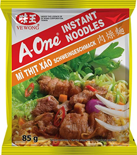 A-ONE Fideos Instantáneos, Sabor Carne de Cerdo 80 g