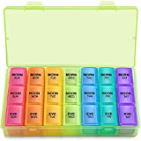 Weekly Pill Organizer 3 Times A Day, Large Gelibo Daily Pill Cases Box for Vitamin/Fish Oil/Pills/Supplements-Arthritis Friendly (Green)