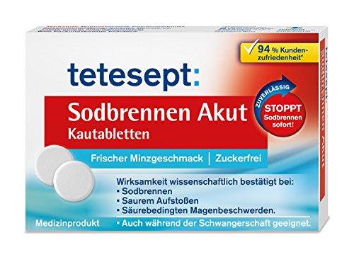 tetesept Sodbrennen Akut Kautabletten mit frischem Minzgeschmack, zuckerfrei - schnell wirkende Magentabletten gegen Sodbrennen - 5 Packungen à 20 Tabletten