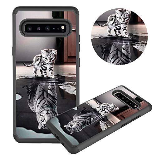 Hülle für Samsung Galaxy S10 5G,Katze Tiger Muster Weich Silikon TPU + Hart PC Hybrid Double Beidseitiger Stoßfest Handyhülle Kratzfest Rüstung Schutzhülle