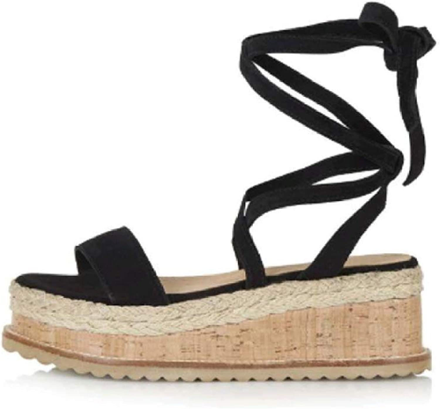 Hoxekle Woman Casual Straw Hemp Rope Wedge Platform Sandals Rome Cross Strap Open-Toe Thick Sole shoes