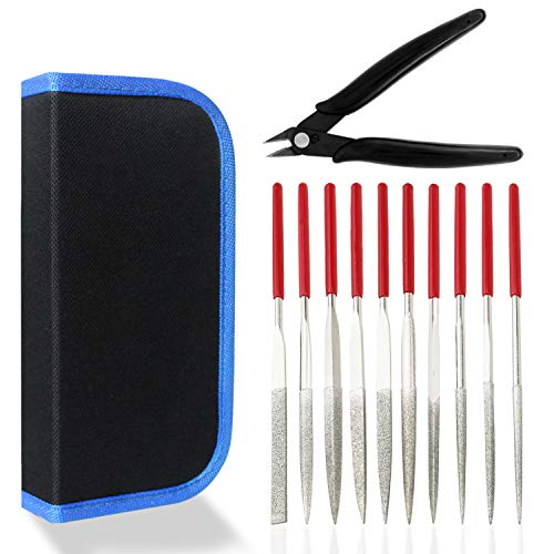 Diamond Needle File Set, 10PCS Diamond Files with 1 Wire Cutter and 1 Carrying Case, File Tools for Woodworking, Metalworking, Jewelry, Model, Hobby, etc.