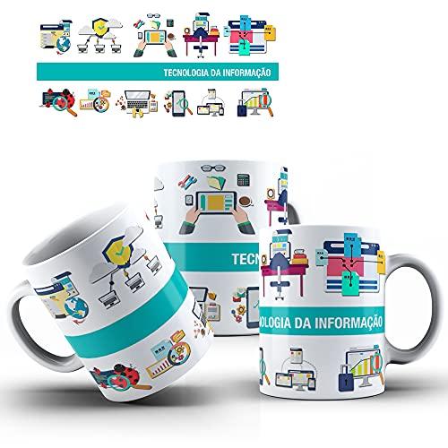Caneca de Porcelana Presente 325ml Profissões Tecnologia da Informação mod.01