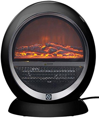 Sichler Haushaltsgeräte Heizofen: Keramik-Heizlüfter im Kamin-Design Flammen, schwarz, 2 Stufen, 1.500 W (Elektrofeuer)