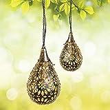 Gadgy Solarlampen Für Außen Hängend | 2 Stück | Orientalische Laterne für Garten und Balkon | Hängende LED Solarleuchten | Metall Solar Gartendeko