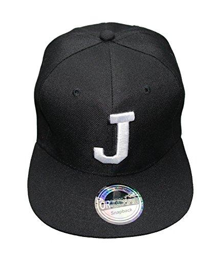 Buchstaben Initialen Snapback Cap Black & White (J)