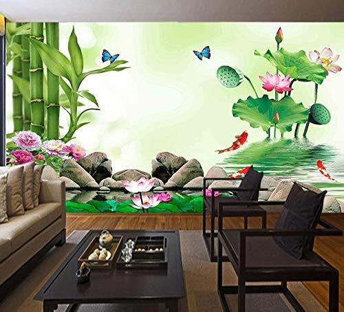 Vrede Wereld Bamboe door Lake Massage Yoga SPA Salon Natrual Wallpaper Badkamer voor 3D Wall Mural Rolls Woonkamer Slaapkamer Decal 3D Wallpaper 200 * 140 200 * 140