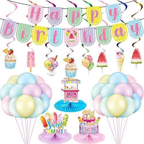 52 Decoraciones de Fiesta de Cumpleaños de Helado Centros de Mesa de Helado Remolinos Colgantes de Helado Banner de Cumpleaños de Helado Globos de Látex de Helados para Baby Shower
