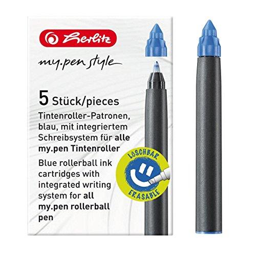 Tintenpatrone für Füllhalter, Tintenroller my.pen, blau, 5er-Pack