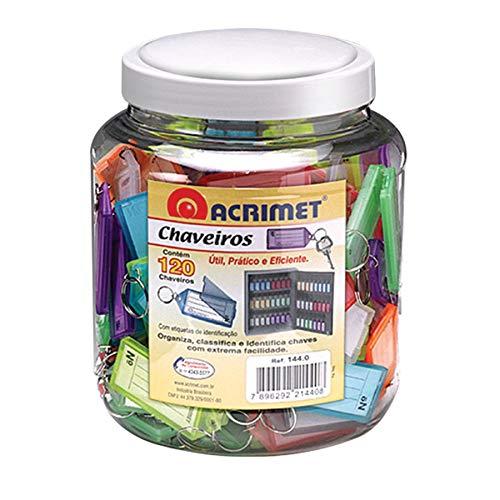 Acrimet Tarro con 120 Llaveros Plásticos Colores Variados Incluye 120 Etiquetas