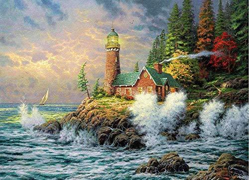 LLYMGX Puzzles Für Erwachsene 1000 Stück Kinder Holz Schwierige Puzzlespiele Lernspielzeug Geburtstagsgeschenk Leuchtturm Gartenhaus Landschaft Am Meer