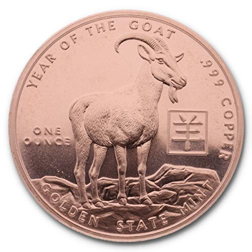 """Golden State Mint 1 Unze (AVDP) .999 fein Kupfer Year of The Goat (2015)"""""""