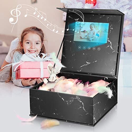 TELAM 7 Zoll LCD Video Geschenkbox, Videobroschüre mit Video und Foto Grußkarte E Card Tolles Geschenk für Geburtstag, Jubiläum, Urlaub, Thanksgiving, Weihnachten, Marketing (SCHWARZ)